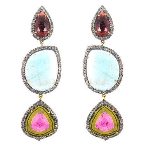 Pave Diamond Gold Gemstone Dangle Earrings