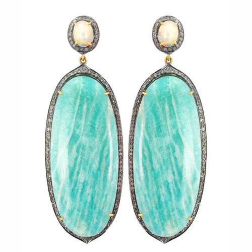 Diamond Silver Gold Gemstones Dangle Earrings