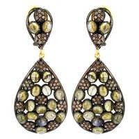 Labradorite Gemstone Pave Diamond Earrings