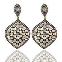 Diamond Pave Gold Silver Gemstone Earrings