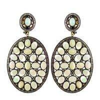 Opal Gemstone Wedding Diamond Earrings