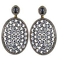 Moonstone Pave Diamond Wedding Earrings
