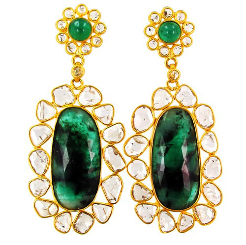 Emerald Gemstone Slice Diamond Earrings
