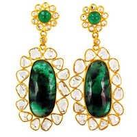 Emerald Gemstone Slice Diamond Earrings