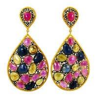 Multi Sapphire Gemstone Drop Earrings