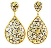 14k Yellow Gold Slice Diamond Earrings