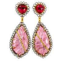 Gold Multi Tourmaline Carving Earrings