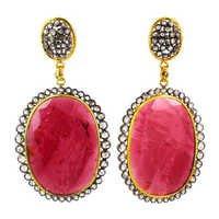 14k Gold Tourmaline Oval Dangle Earrings