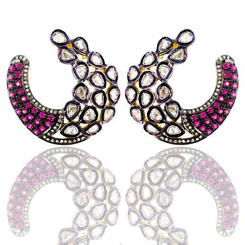 Rose Cut Diamond Pink Tourmaline Earrings