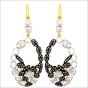 Gold Rose cut Diamond Earrings Jewelry