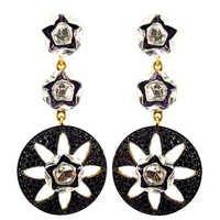14k Gold Black Spinel Dangle Earrings