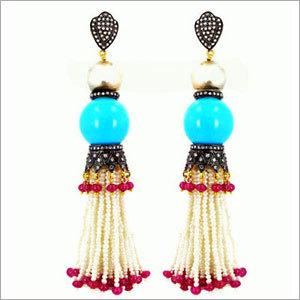 Diamond Gemstone Tassel Earrings
