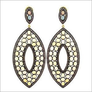 Opal Gemstone Pave Diamond Earrings Jewelry