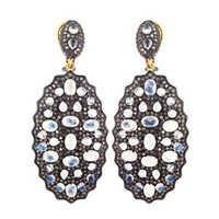 Gold Silver Gemstone Pave Diamond Earrings