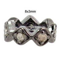925 Sterling Silver Diamond Spacer Jewelry