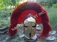 ARMOUR SPECTACLE BRASS WITH RED PLUME HELMET.