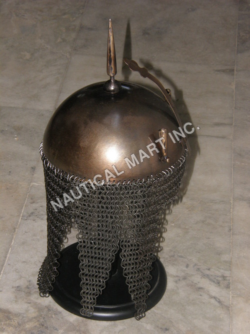 MEDIEVAL HELMET WITH CHAIN MAIL.