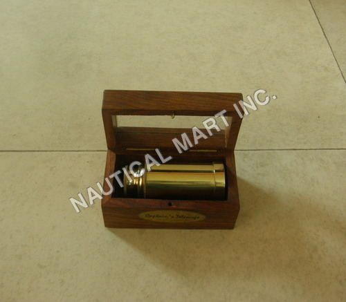 NAUTICAL BRASS TELESCOPE WITH WOODEN BOX.