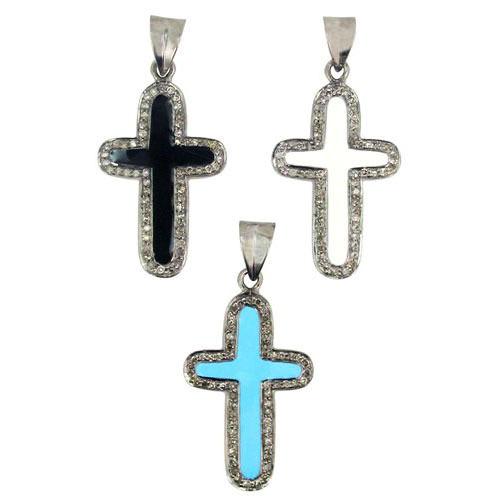 Silver Holly Cross Enamel Charm Pendant