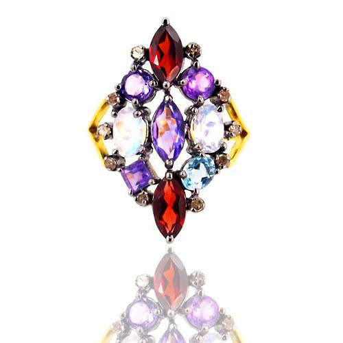 Multi Color Gemstone Gold Ring