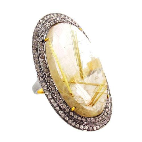 Rutile Quartz Gemstone Diamond Ring Jewelry