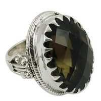 Smokey Quartz Semi Precious Gemstone Ring Silver Jewellery