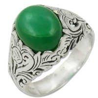 Green Onyx Semi Precious Gemstone Silver Ring Jewellery