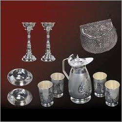 German Silver Glass Set with Jug