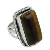 Gemstone Silver Ring,Tiger Eye Ring