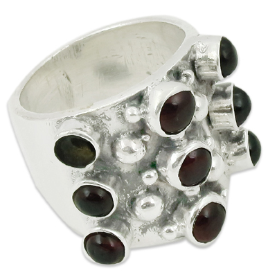 Garnet & Tourmaline Gemstone Silver Ring Jewellery