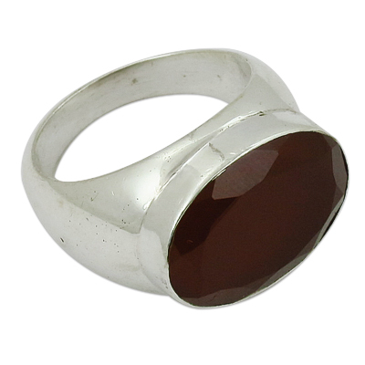 Red Onyx Gemstone Sterling Silver Ring Jewellery