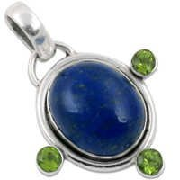 Lapis Lazuli & Peridot Natural Gemstone Silver Pendant Jewellery