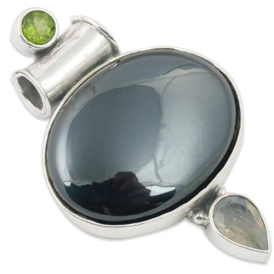 Stylist Gun Metal Gemstone Pendant Jewellery