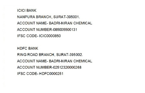 Our Bank Details