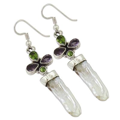 c71516374bd1c Amethyst & Fresh Water Pearl Gemstone Earrings Jewellery ...
