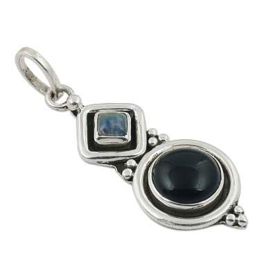 Black Onyx & Labradorite Gemstone Pendant Jewellery