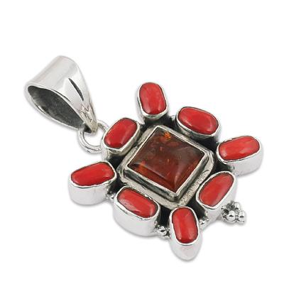 Amber & Coral Gemstone Pendant Jewellery