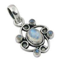 Nice Looking Rainbow Moonstone Silver Gemstone Pendant Jewellery