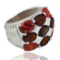 Natural Garnet, Cubic Zirconia & Smoke Quartz Gemstone Ring Jewellery