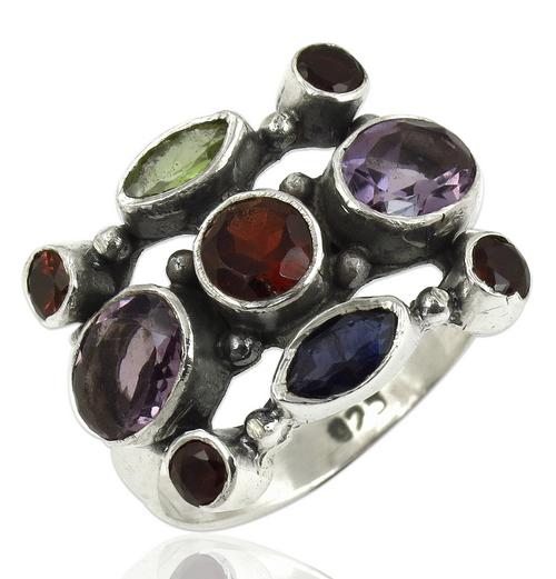 Natural Multi Stone Gemstone Ring Jewellery