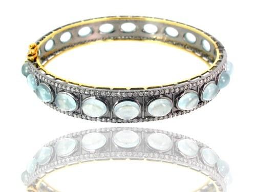Gold Aquamarine Gemstone Diamond Bangle