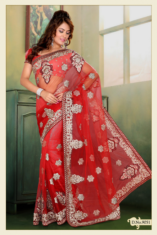 Shaded Red Net Saree with Blouse