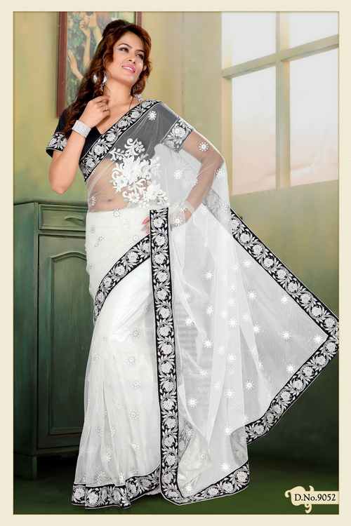 Off White Net Saree with Blouse