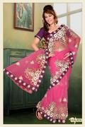 Pink Net Saree with Blouse