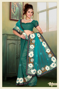 Teal Green Net, Shimmer Faux Georgette Saree with Blouse