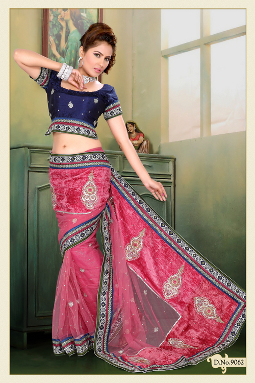 Dusty Pink Net, Velvet Saree with Blouse