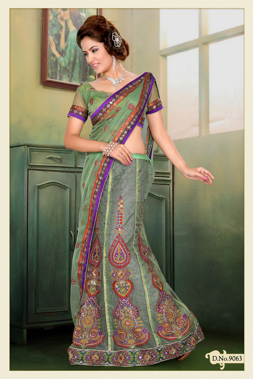 Pastel Green Shimmer Net Lehenga Style Saree with Blouse