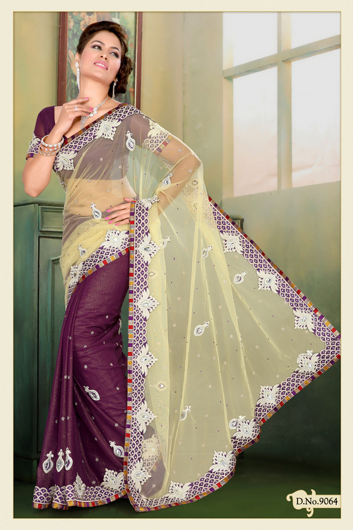 Fawn Net and Shimmer Faux Georgette Saree with Blouse