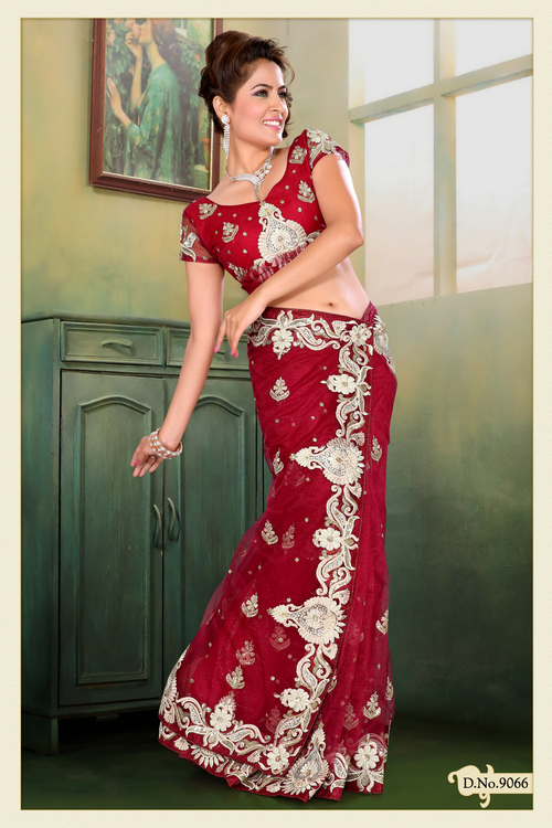 Deep Red Net Saree with Blouse