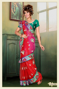 Red and Pink Net Saree with Blouse